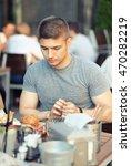 young man having double... | Shutterstock . vector #470282219