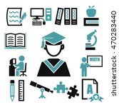 learning icon set | Shutterstock .eps vector #470283440