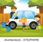 dad and kids washing car in the ... | Shutterstock .eps vector #470294498