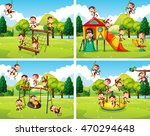 scenes with monkeys playing in... | Shutterstock .eps vector #470294648
