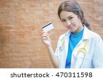 doctor showing business card...