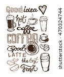 coffee collection   hand drawn... | Shutterstock .eps vector #470324744