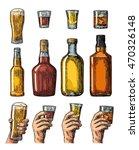 set alcohol drinks with bottle  ... | Shutterstock .eps vector #470326148