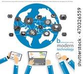 vector businessman using modern ... | Shutterstock .eps vector #470326559