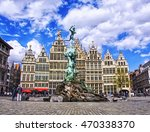 grote markt in antwerp  belgium | Shutterstock . vector #470338370