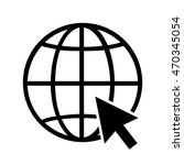 internet globe icon with arrow... | Shutterstock .eps vector #470345054