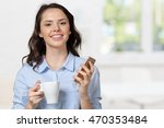 young woman talking on mobile... | Shutterstock . vector #470353484