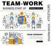 modern team work pack. thin... | Shutterstock .eps vector #470374190