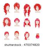set of bold hair colors female... | Shutterstock .eps vector #470374820