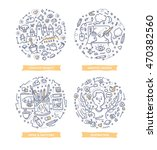set of doodle line vector... | Shutterstock .eps vector #470382560