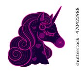 head of cute unicorn with pink... | Shutterstock .eps vector #470422988