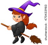 cartoon witch flying | Shutterstock . vector #470433983