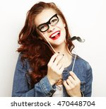 young woman wearing fake... | Shutterstock . vector #470448704
