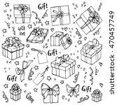 gift boxes doodle sketch set | Shutterstock .eps vector #470457749