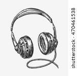 hand drawn vintage headphones....   Shutterstock .eps vector #470461538