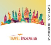 travel and tourism background.... | Shutterstock .eps vector #470463248