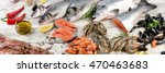 fresh fish and other seafood on ... | Shutterstock . vector #470463683