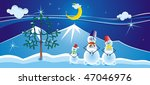 family of three snomans near... | Shutterstock . vector #47046976