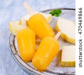 homemade ice lolly of melon on... | Shutterstock . vector #470469866