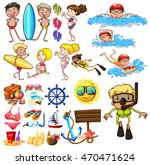 summer set with swimmers and... | Shutterstock .eps vector #470471624