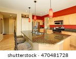 kitchen room interior with red... | Shutterstock . vector #470481728
