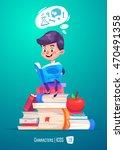 cute boy. back to school... | Shutterstock .eps vector #470491358