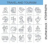 linear vector icons set. travel ... | Shutterstock .eps vector #470494694