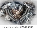 Motorcycle Engine Close Up....