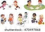 cute happy cartoon children... | Shutterstock .eps vector #470497868