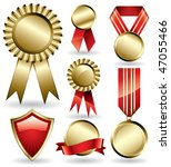 set of shiny red and gold award ... | Shutterstock .eps vector #47055466