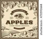 vintage brown apples label | Shutterstock . vector #470592668
