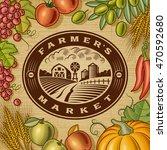vintage farmers market label | Shutterstock . vector #470592680