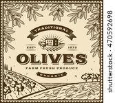 vintage brown olives label | Shutterstock . vector #470592698