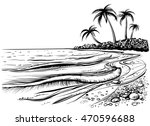 ocean or sea beach with waves ... | Shutterstock .eps vector #470596688