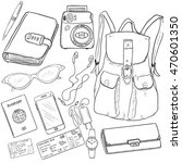 vector sketch travel set.... | Shutterstock .eps vector #470601350