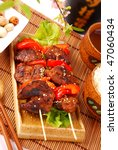 japanese yakitori with chicken liver,paprika and rice - stock photo