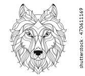 wolf head zentangle stylized ... | Shutterstock .eps vector #470611169