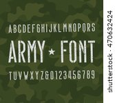army alphabet font. scratched... | Shutterstock .eps vector #470632424