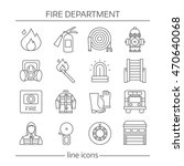 fire department linear icons... | Shutterstock .eps vector #470640068