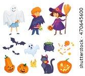 kids in halloween costumes... | Shutterstock .eps vector #470645600
