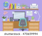 workspace with computer ... | Shutterstock .eps vector #470659994