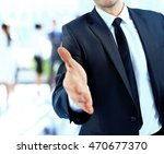 a business man with an open... | Shutterstock . vector #470677370
