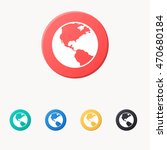 world icon or button in flat... | Shutterstock .eps vector #470680184