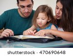 young family studying the word... | Shutterstock . vector #470690648
