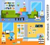 baby room interiors flat... | Shutterstock .eps vector #470695559