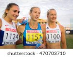 Small photo of EMERSON Niamh (left) SHUKH Alina (middle) LAGGER Sarah (right) during Heptathlon Girls competition at the European Athletics Youth Championships in the Athletics Stadium, Tbilisi, Georgia 15 July 2016