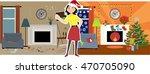 woman in a santa's hat... | Shutterstock .eps vector #470705090