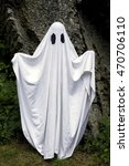 a spooky white ghost covered by ... | Shutterstock . vector #470706110