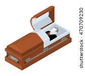 deceased in coffin. dead man... | Shutterstock .eps vector #470709230