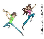 two athletic flying teenagers | Shutterstock . vector #470720423